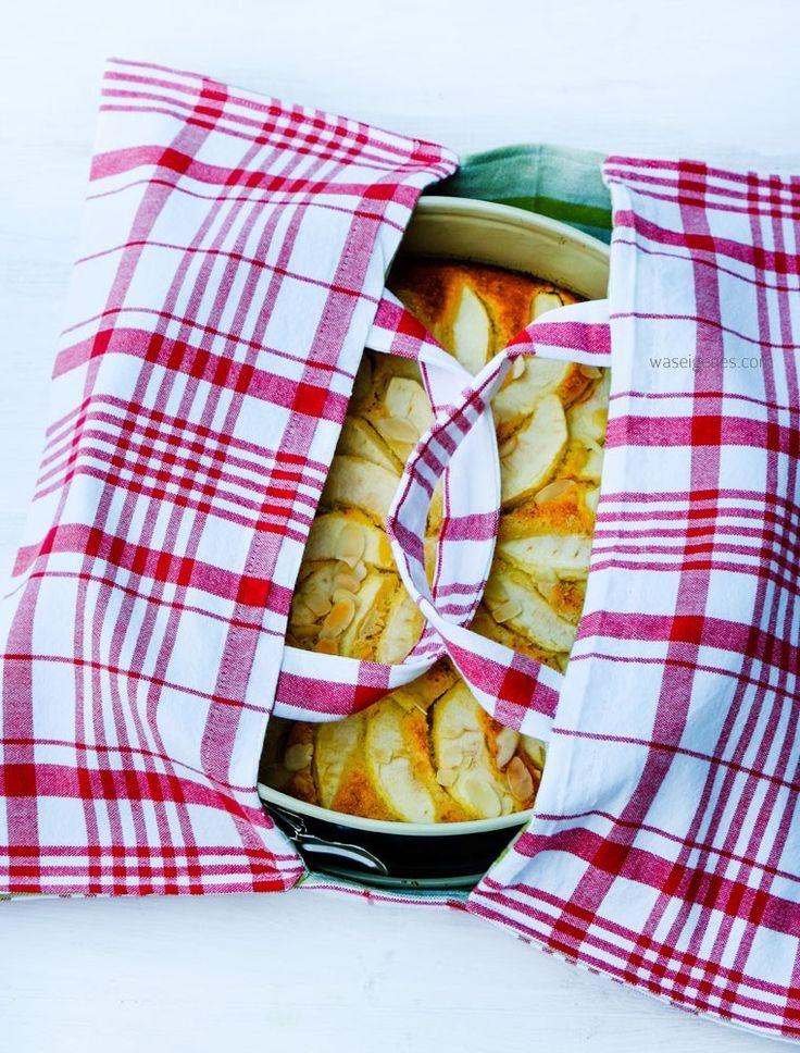 Nähanleitung Kuchentasche aus Geschirrtüchern + Rezept low carb Apfelkuchen