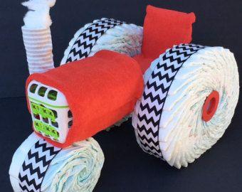 Chevy diaper truck diaper centerpiece diaper by OBabyDiaperCakesCo