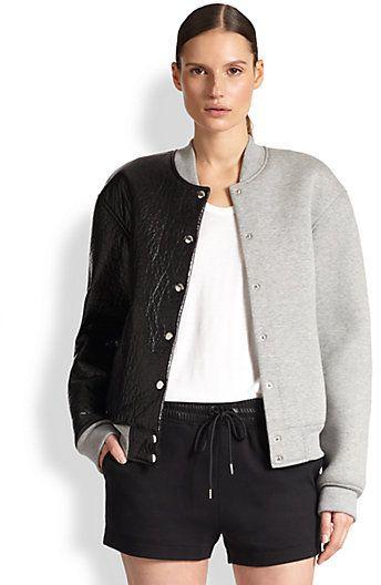 Alexander Wang Asymmetrical Leather & Neoprene Varsity Jacket on shopstyle.com.au