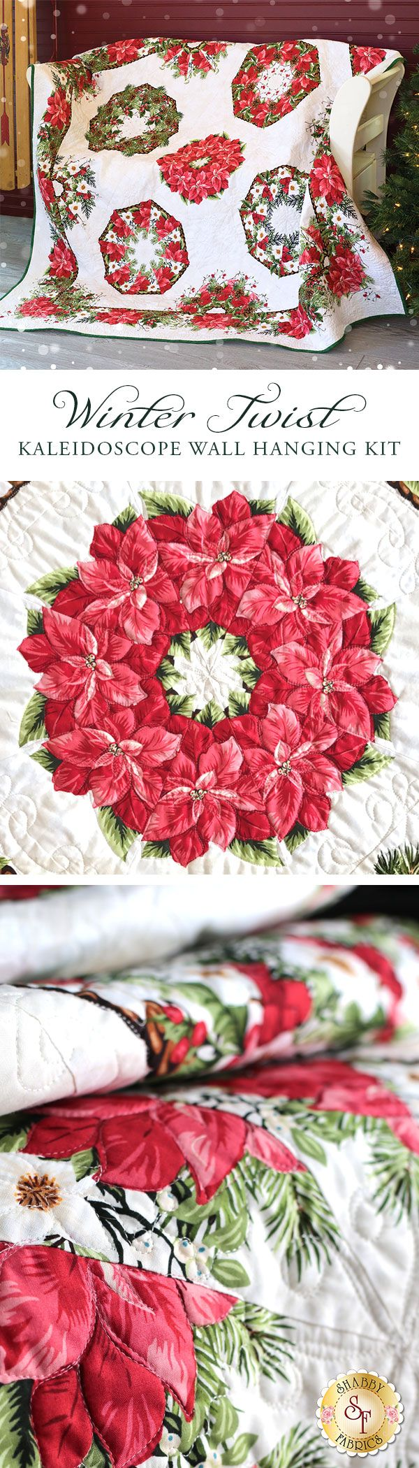"""Create a stunning Christmas quilt with a fun and unique technique! The One-Fabric Kaleidoscope Wall Hanging is made using just a single fabric on a background fabric. The beautiful variety for each of your kaleidoscope blocks depends all on how you choose to cut your fabrics, meaning your quilt will truly be one of a kind! This quilt is perfect for the holiday season and finishes to approximately 62"""" x 62""""."""