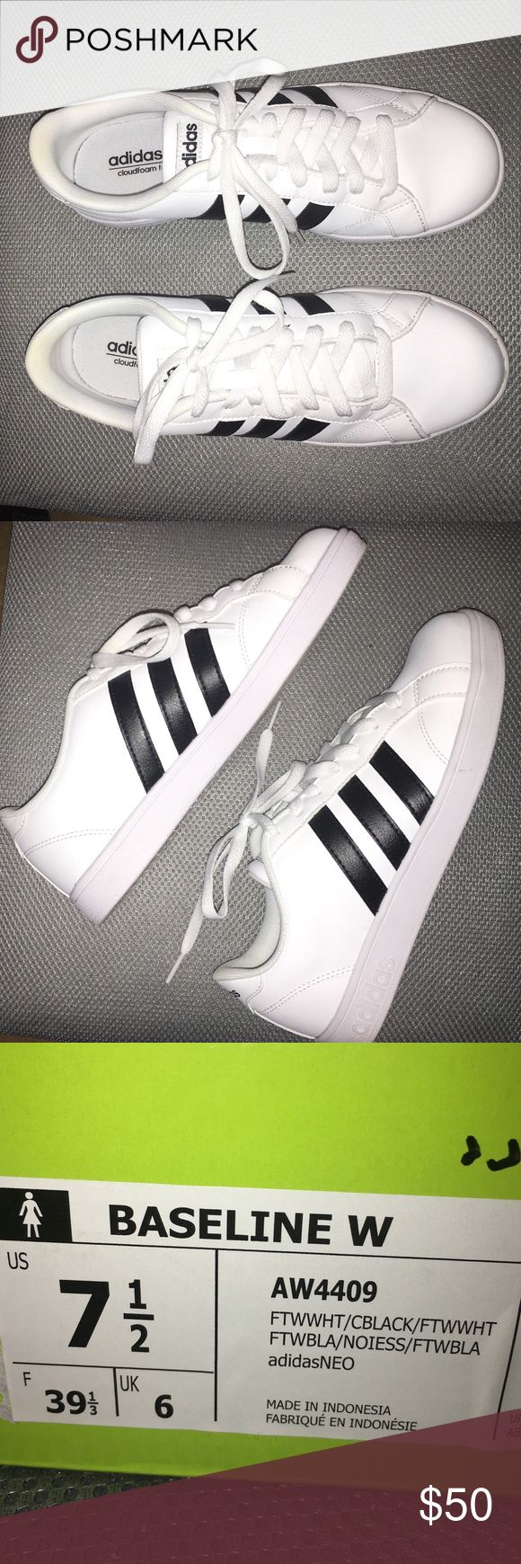 Adidas Neo Baseline Sneakers Black & White Adidas Neo Baseline Sneakers. Only worn once to try on! Too big for me. Box included. Willing to take offers!!! Adidas Shoes Sneakers