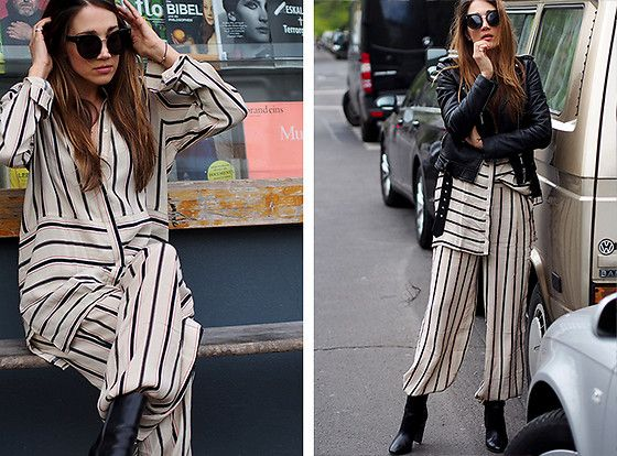 Get this look: http://lb.nu/look/8681213  More looks by Nina @ www.helloshopping.de: http://lb.nu/helloshopping  Items in this look:  Stella Mc Cartney Eyewear, Y.A.S. Stripes Shirt, Y.A.S. Stripes Pants, Hugo Boss Boots, All Saints Leather Jacket   #about #classic #minimal #street #stripes #oversize #oversized #layering #leatherjacket