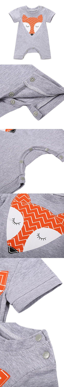 MIOIM Newborn Baby Boys Girls Cute Fox Romper Bodysuit Jumpsuit Pajamas Outfits 0-24M
