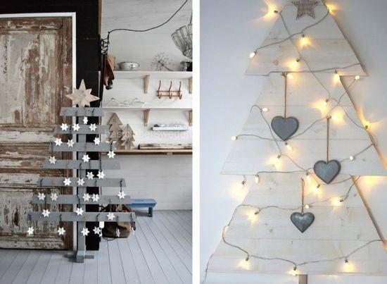 DIY sapin de Noël en bois palette branche à faire soi même gris
