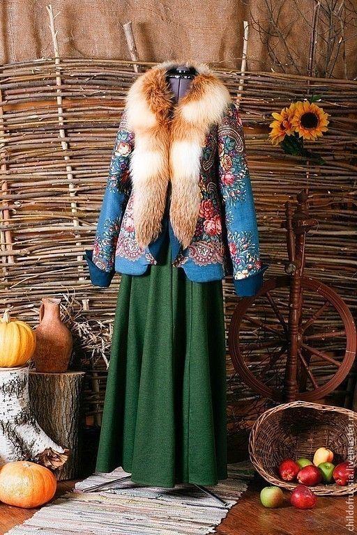 Купить Полушубок - полушубок, зима, Павлово-посадский платок, мех натуральный, Павлопосадский платок