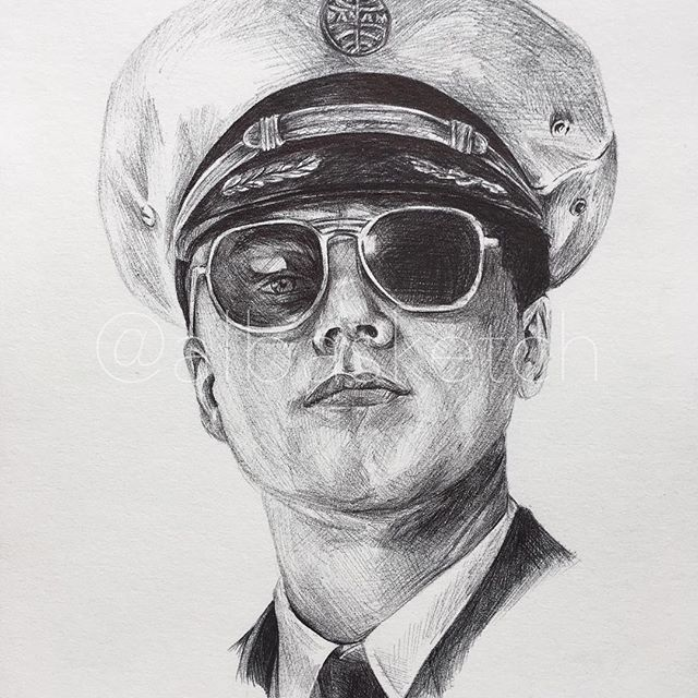 F is for Frank Abagnale Jr • Leonardo DiCaprio in Catch Me If You Can by albasketch #draw #drawing #illustration #art #artist #sketch #sketchbook #ink #movie #Leo #Leonardo #DiCaprio #albasketch