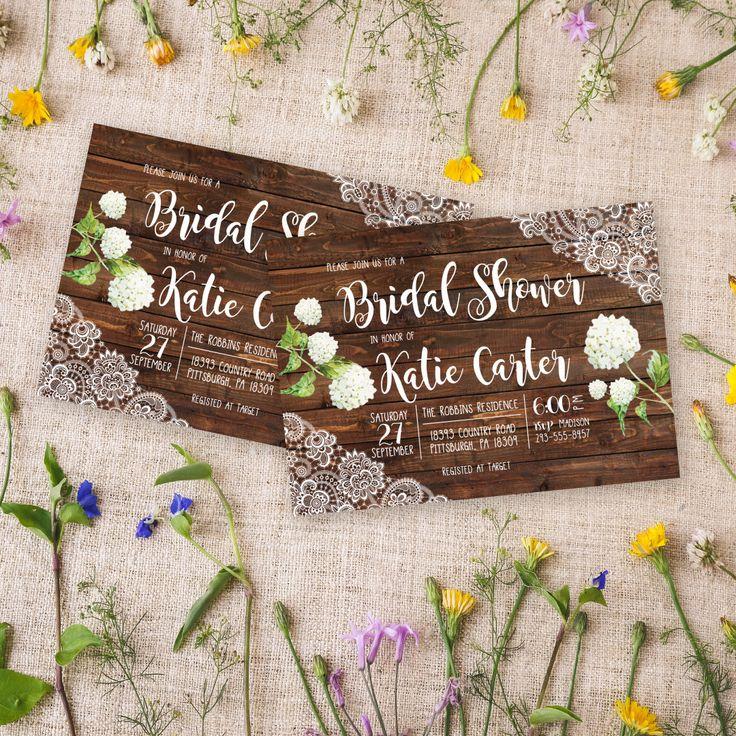 Rustic Bridal Shower Invitation Hydrangea Bridal Shower