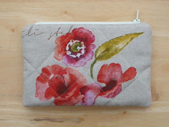 Quilted Poppy Small Zippered Pouch, Zip Purse, Jewelry, Make up, Cosmetic or Accessory Pouch