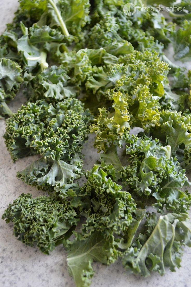 Cómo hacer chips de kale o col berza www.pizcadesabor.com