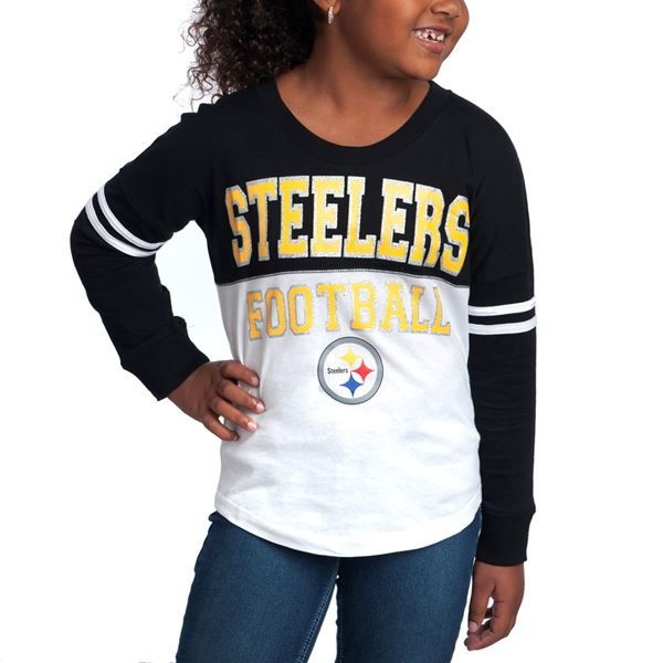 Picture of Pittsburgh Steelers Girls Varsity Crew Long Sleeve T-Shirt