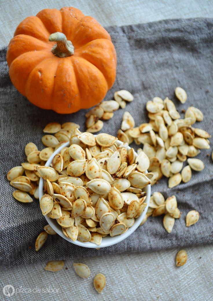 Cómo hacer semillas de calabaza tostadas (auyama) - snack saludable www.pizcadesabor.com