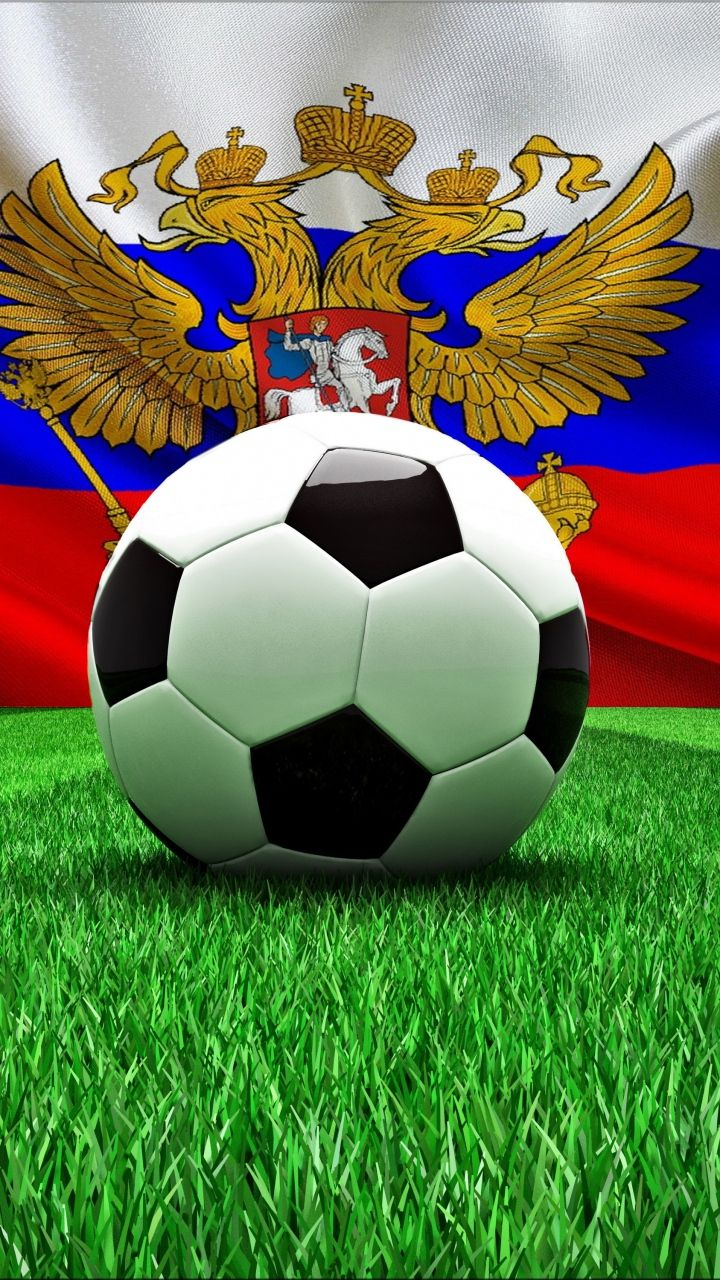 Football World 2018 Cup, Russia: Russian tricolour flag + Russian coat of arms (the two-headed eagle and the mounted figure slaying the dragon) + a soccer ball.