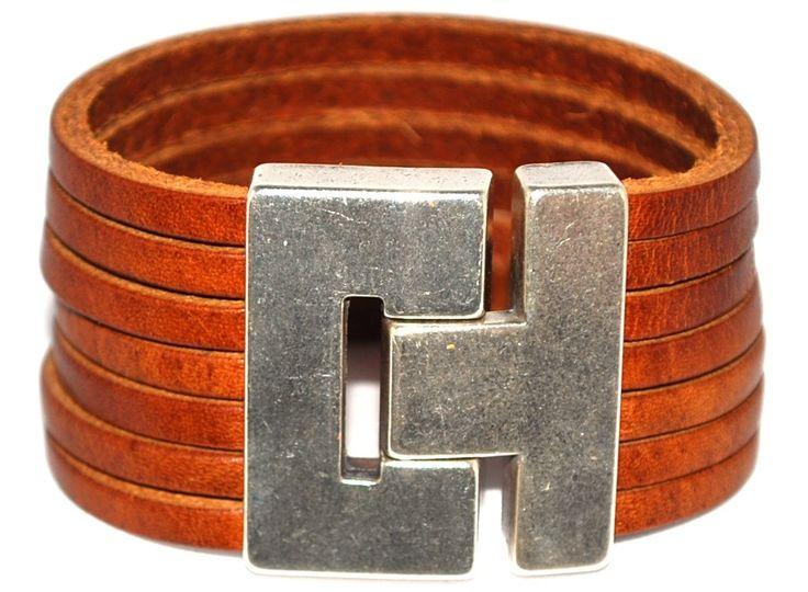 Leren armband strip cognac #Armbandenriemen