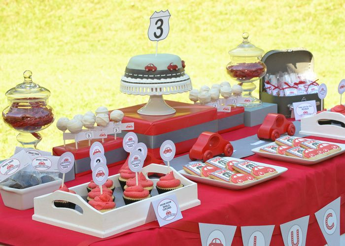 Little Red Car Themed Dessert Table: Little Red, Baby Shower Ideas, Cars Parties, Birthday Parties, Theme Parties, Parties Ideas, 2Nd Birthday, Red Cars, Cars Birthday