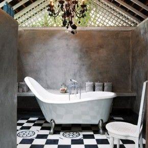 zwart-grijze interieur voor de badkamer