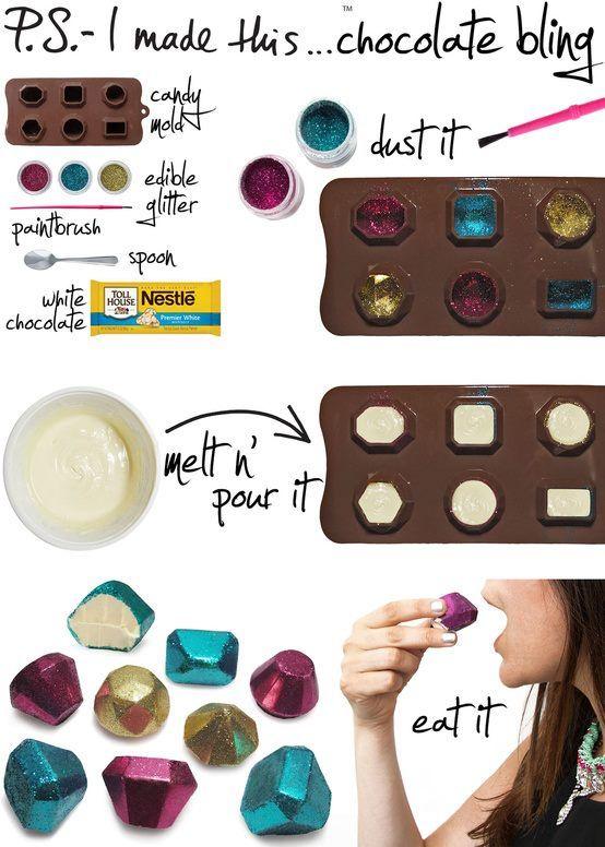 En molde de bombones (previamente rociados con alcohol etilico) colocas purpurina comestible. Calentar el chocolate a baño Maria revolviendo o en el microondas cada 10 segundos, siempre revolviendo. Se vierte en el molde, se deja enfriar, y listo!