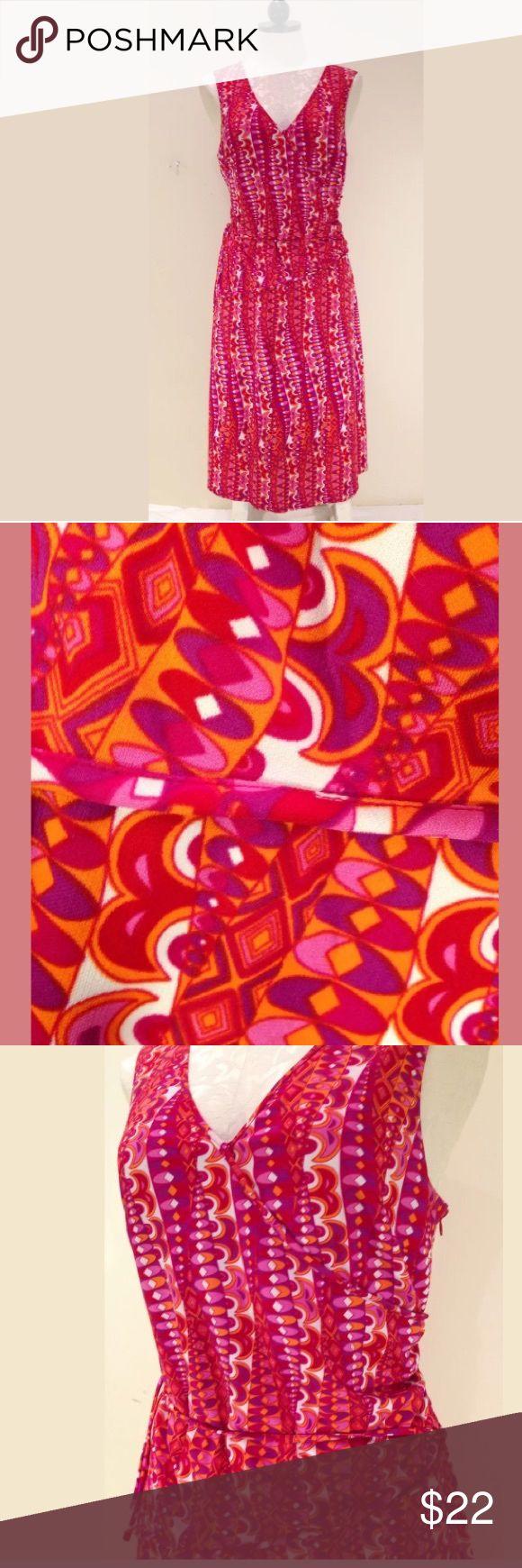LAUNDRY SHELLI SEGAL Retro mod print V Neck dress LAUNDRY BY SHELLI SEGAL Pink, Orange Red Retro mod FLORAL print V Neck DRESS SZ 8 Beautiful v neck cocktail dress ! Laundry by Shelli Segal Dresses High Low