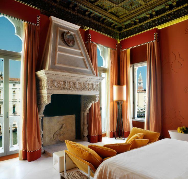Hotel Centurion Palace   Venice #hotelcenturionpalace #suite #warm #colors #orange #red #Grandcanal #venice #details