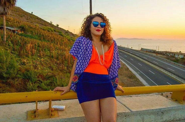 Kimono & blue velvet skirt: North Line Model: AnaVictoria Totoya Photo : Ambar Navarro