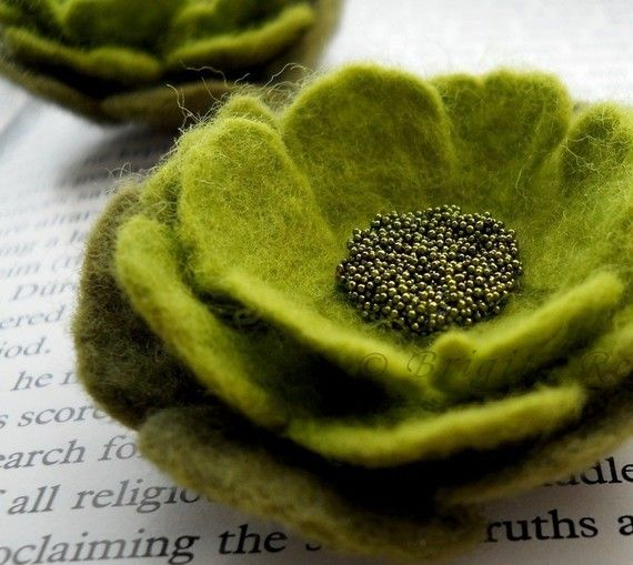 Felt Flower Brooches Apple and Olive Green
