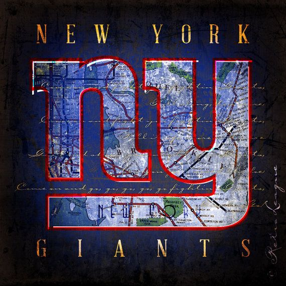 New York Giants City Map - Perfect Christmas, Birthday, Anniversary Gift - Unframed Print