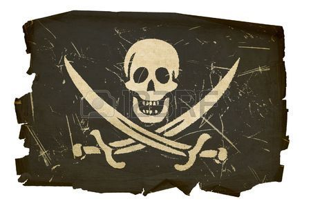 bandiera pirata vecchio isolato su sfondo bianco  Archivio Fotografico