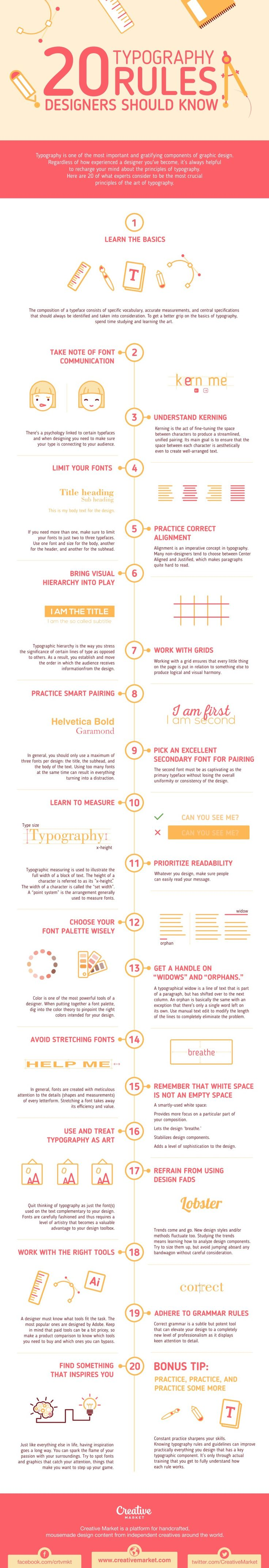 20 Typography Rules Every Designer Should Know #Infographic #Typography