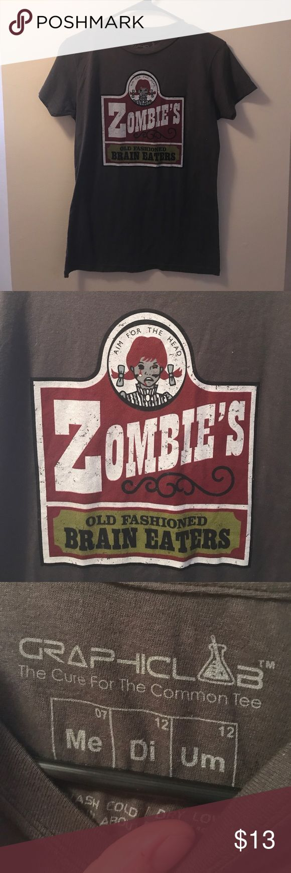 """Wendy's Logo Spoof Zombies Tee Women's Medium Brand is graphic Lab tees - it's a spoof on the Wendy's logo """"zombies old fashioned brain eaters aim for the head"""" size Medium Graphic Lab Tees Tops Tees - Short Sleeve"""