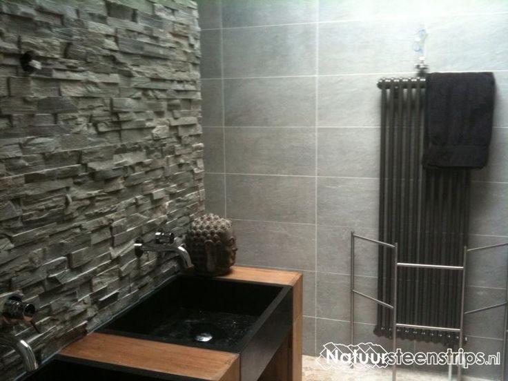 Natuursteenstrips grijs kwartsiet steenpanelen en steenstrips ideeen voor nu pinterest html - Muurbekleding voor badkamers ...