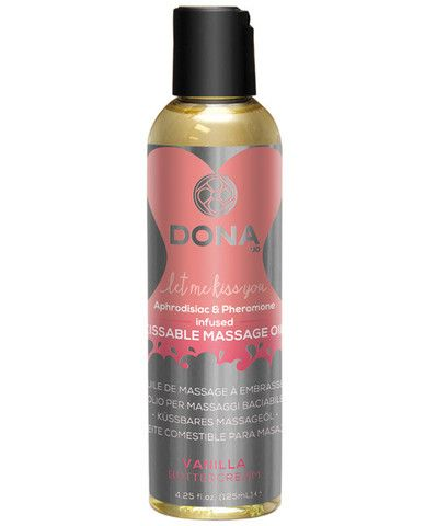 Dona Kissable Massage Oil - 4 Oz Vanilla Buttercream - Transform your lover into a sensual dessert with DONA Kissable Massage Oil. Tempt your taste buds with luscious vanilla buttercream as you kiss away tension. Vanilla Buttercream 4.25 oz