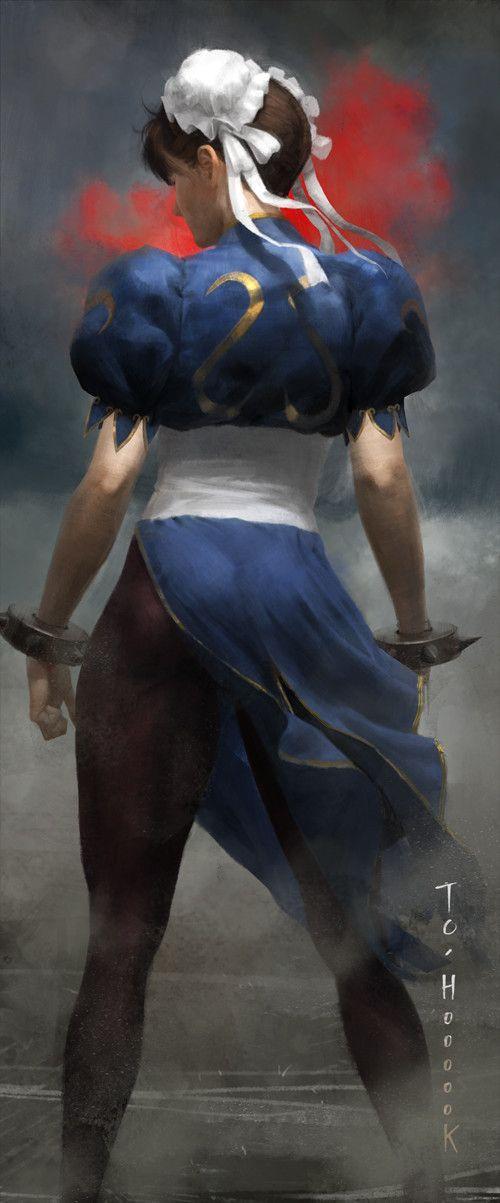 """Chun Li"" - Sangsu Jeong 정상수 {figurative art female back standing woman digital painting}"