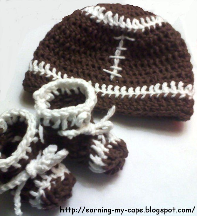 Earning-My-Cape: Newborn Football Hat and Booties Set (free crochet pattern):
