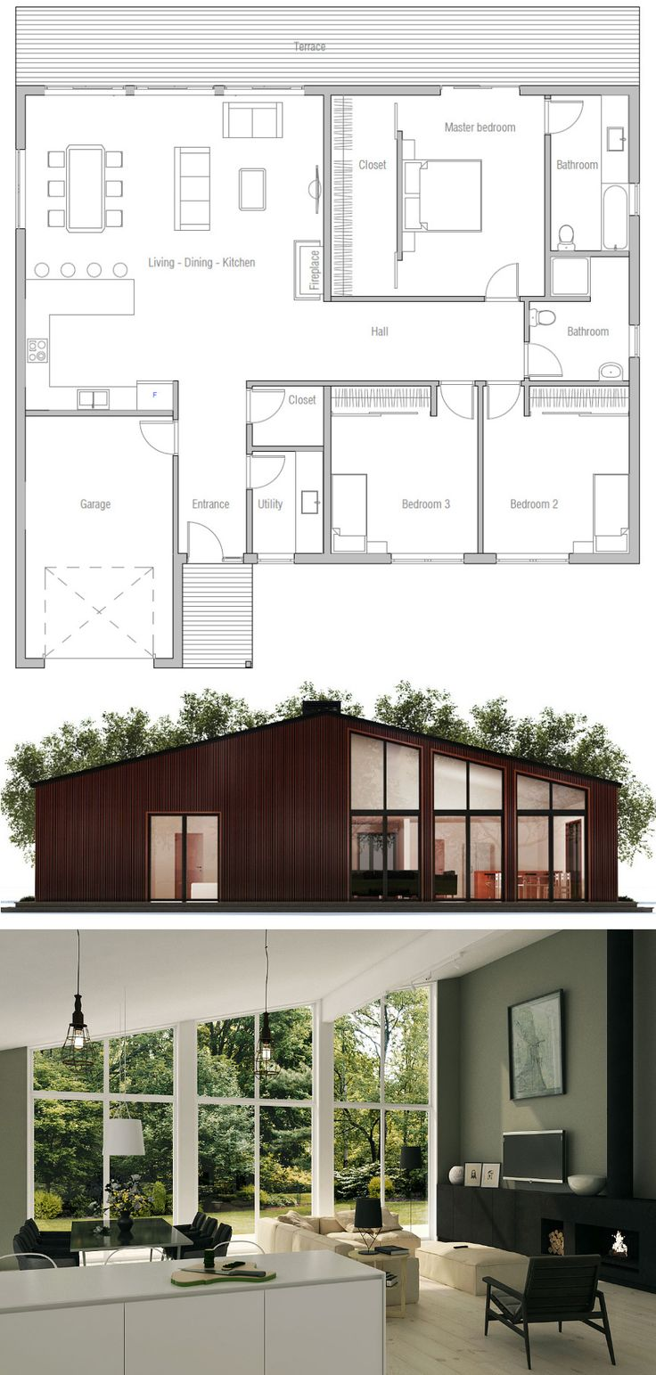 25 best modern home plans ideas on pinterest for Plan maison moderne