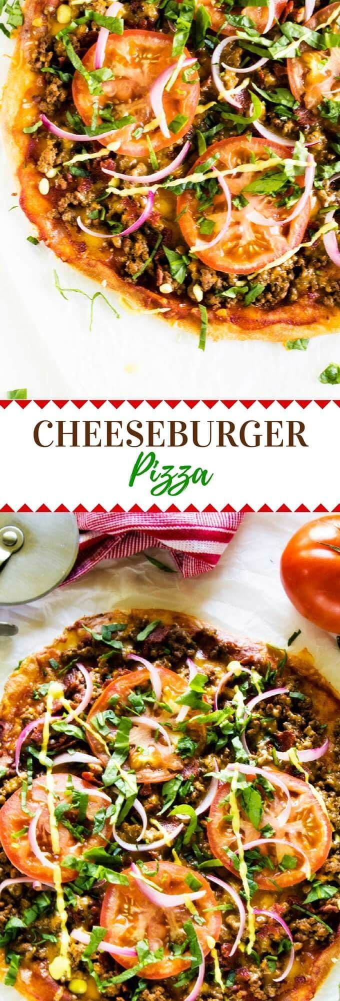 Mix up your pizza night with this Bacon Cheeseburger Pizza recipe.  It is the perfect blend of two favorites.  This pizza is one the whole family will love. Use Cauliflower Crust or Fathead Pizza Dough for a low carb or Keto option. via @wendypolisi