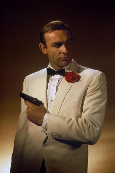 Sean Connery as James Bond in Goldfinger 1964. Probably a less popular colour for a suit in the 2010s, but I like it!