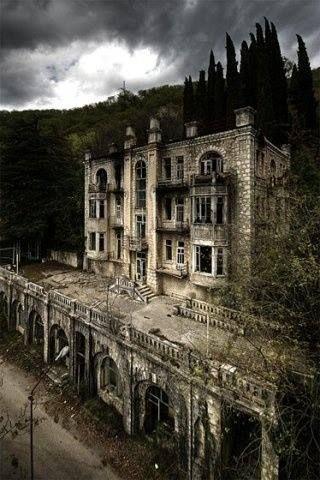 The abandoned Hotel Skala in the Gagra Mountains, Abkhazia, Georgia.                                                                                                                                                      More
