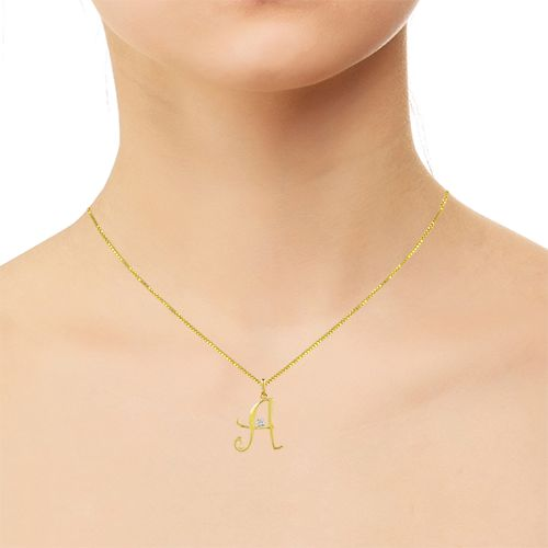 Buy or gift name plays diamond pendant with 18k gold chain gold for women at the best prices in UAE, Bahrain, Kuwait, Oman & Qatar. Online jewellery shopping