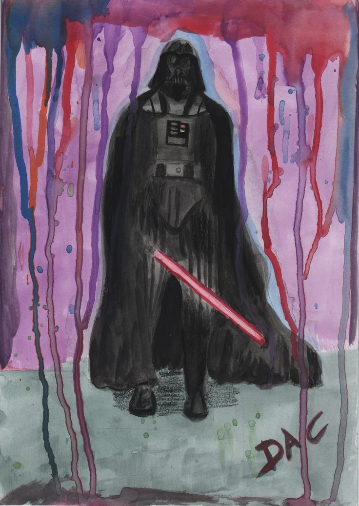 Darth Vader in watercolor, with his lightsaber.  Star wars fan-art. #watercolor #vader #sith #lightsaber #starwars