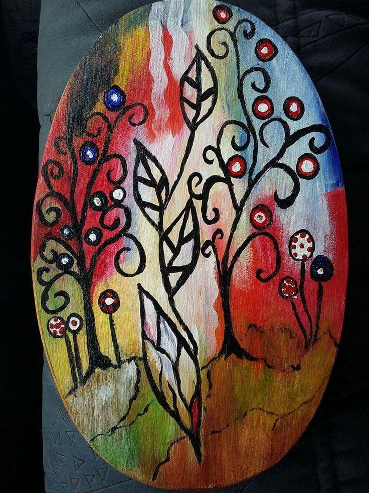 Abstract(25€) Tablou pictat pe lemn Dimensiuni 23/15cm Disponibil