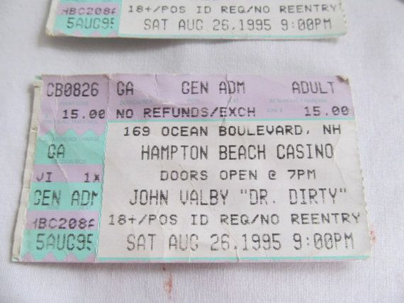 Talk to me Dirty Dr Dirty John Valby Vintage Concert Ticket Hampton Beach Casino NH 8 26 95 Explicite