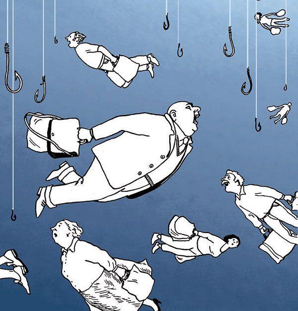 Lucie Lomová #illustrator #czech #illustration #blue #white #flying #shoppers #ilustratorka #ilustrace #letani #nakupy #nakupovani