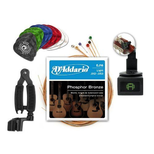 D'Addario and Planet Waves Acoustic Guitar Accessories, Essentials Pack by D'Addario. $28.99. D'Addario and Planet Waves Acoustic Guitar Accessories, Essentials Pack Get the most popular and versatile D'Addario strings and Planet Waves acoustic guitar accessories in one convenient and affordable package. Available exclusively through Amazon, the Acoustic Guitar Essentials Pack is ideal for a wide variety of guitarists, making it a great gift for all players — from beginner...