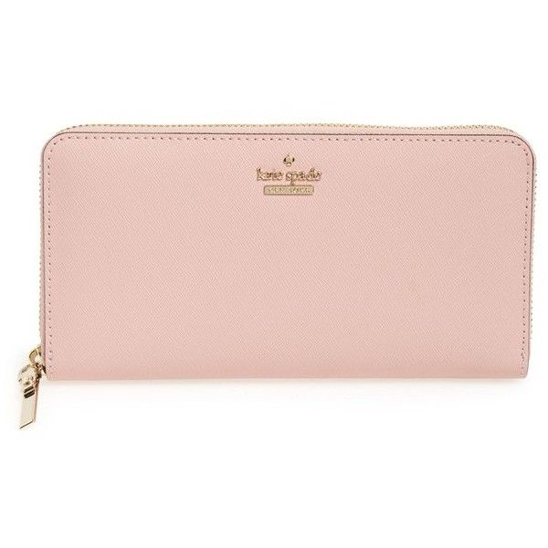 Women's Kate Spade New York 'Cameron Street - Lacey' Leather Wallet (£150) ❤ liked on Polyvore featuring bags, wallets, accessories, pink bonnet, logo bags, zip around wallet, kate spade bags, real leather bags and kate spade wallet