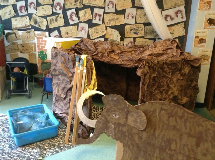 Our Stone Age cave we made for our open area