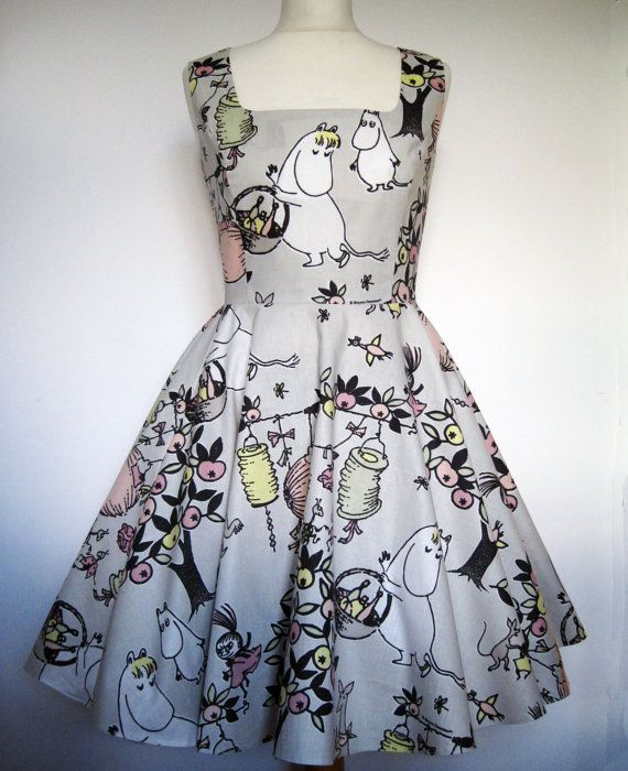 Moomin Dress Kawaii Sweet Lolita Handmade - All Sizes Available like this but in the tea dress with sleeves and round neck.for katie