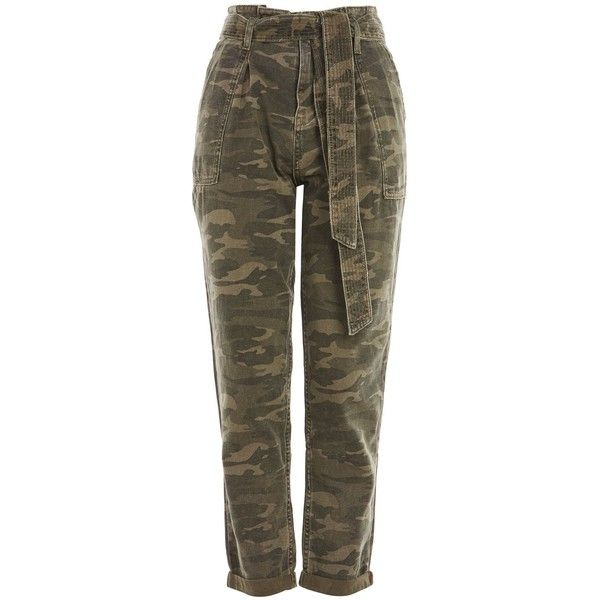 Topshop Camouflage Paper Bag Trousers ($55) ❤ liked on Polyvore featuring pants, topshop, olive, military green pants, camo trousers, camoflauge pants, camo print pants and camouflage pants