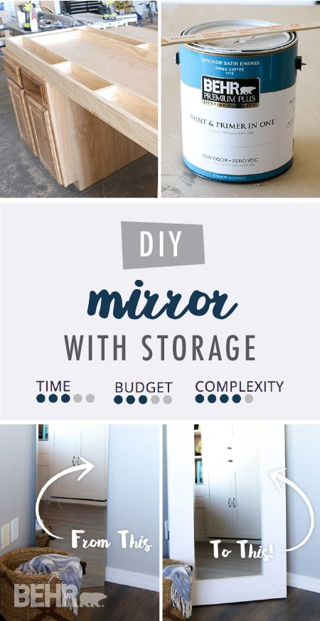 Add style and storage to your bedroom all at once with this DIY mirror with storage from Katie, of Addicted to DIY. Katie built a custom wooden frame for her storage mirror. Then, she painted it a neutral shade of Swiss Coffee to give her new full-length mirror a farmhouse-chic style. Click here for the full tutorial.