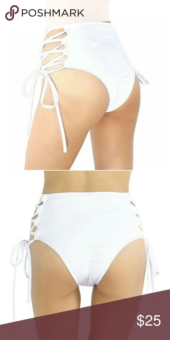 Rave shorts White high wasted lace up booty shorts iheartraves Swim Bikinis