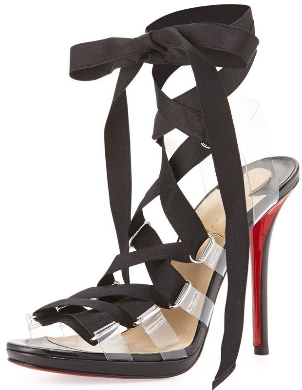 """281ceb446ca Christian Louboutin """"Nymphette"""" Satin Lace-Up Red-Sole Sandals ..."""