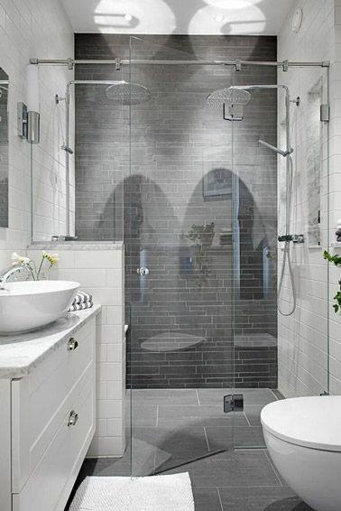 Les 25 meilleures id es concernant petites salles de bains gris sur pinterest salle de bains for Petite salle de bain carrelage